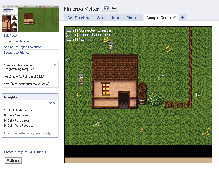 MMORPG Maker XB Sample Game Embedded Inside A Facebook Page